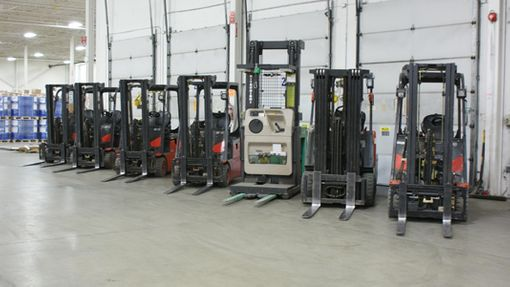 forklifts lined up